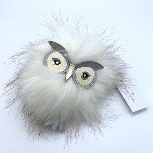 KATE SPADE Owl Faux Fur Pouf Bag Charm Keychain